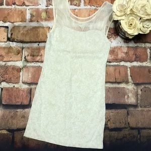 Romantic Free People Lace Front Cream Dress